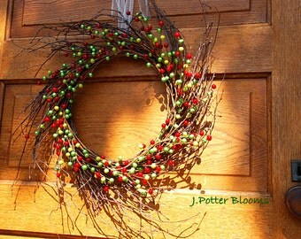 Twig Wreath, Berries for the Holidays, Front Door Wreath, Christmas Decor, Home for the Holidays, Jingle all the way