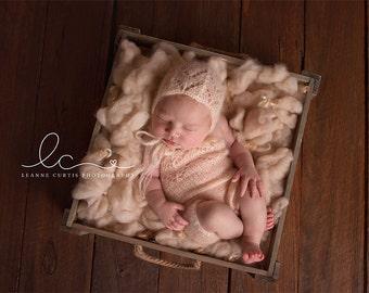 Newborn Overalls & Bonnet, Photo Prop, Lace Overalls