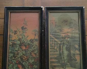 Vintage Bird and Lady Prints