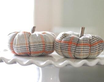 Limited Edition Small Plaid Flannel Pumpkin, Thanksgiving Decor, Fall Decor, Halloween Decor, Autumn Decor, Fall Vignette, Fall Fireplace