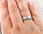 Sterling silver stackable rings - Mom rings - Stack rings - Eternity birthstone rings - Personalized jewelry - Stacking name rings