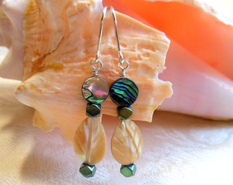 Abalone and mother of pearl earrings, mother of pearl leaves, round abalone, argentium sterling silver wires, made to match necklace