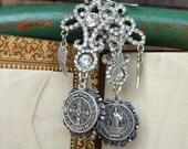 Assemblage Earrings, St. Benedict, Rhinestones, Catholic, Devotional