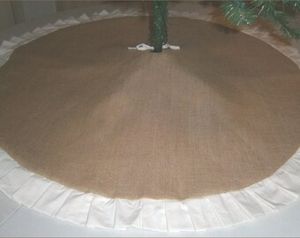 "Christmas Tree Skirt - 48"" - Burlap With Muslin Ruffle"