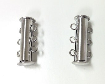 3 strand Silver Plated slide Clasp