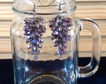 Purple Cluster Crystal Earrings