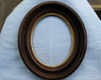 Antique oval wood frame w/ gold gilt liner