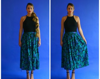 floral skirt with pockets / teal and purple floral print midi/ 1990s/ small - medium