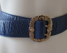 Blue Leather Belt Carlos Falchi Designer Brass Buckle Equestrian theme buckle made in Brazil/Eberly buckle