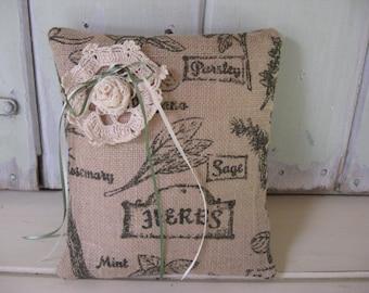 Pillow Small Burlap Dark Olive Herb Print Ecru Olive Cream Ribbons Tan 9x10 Home Decor Accent Pillow
