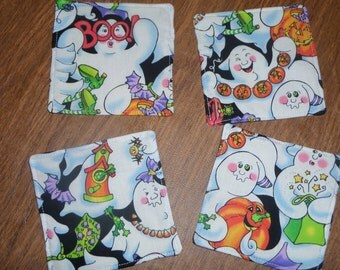 Set of 4 Reversible Ghost Halloween Print Fabric Coasters