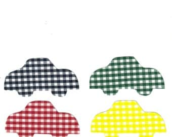 Set of 4 Blue, Green, Red and Yellow Gingham Cars Fabric Iron on Appliques
