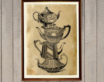Antique poster Tea pot print Vintage home decor AK554