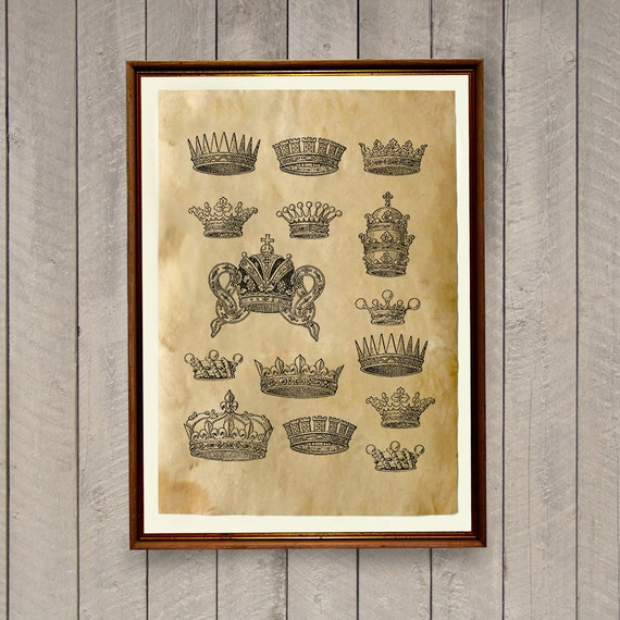 Crown Poster Vintage Home Decor Antique Print Ak737