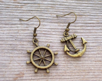 Asymmetrical Antiqued Brass Plated Ship Wheel and Anchor Pierced Dangle Earrings