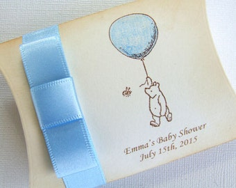 Winnie the Pooh Baby Shower Favor Box, Personalized Classic Winnie the Pooh Favor Box, Blue Boy Favor Box, Vintage Style, Set of 10, 003-B