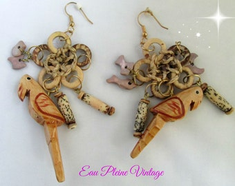 Tropical Wood Parrot Dangle Pierced Earrings