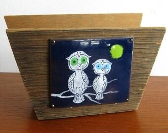 Vintage 60s Copper Enamel Owl Wooden Napkin Holder Kitchen Table Accessory