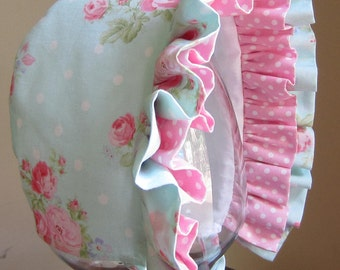 Baby Bonnet-Baby Hat- Pink Rose Clusters