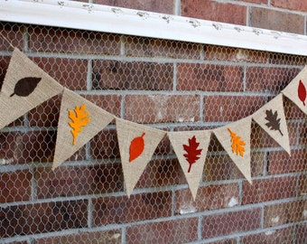 Fall Decor - Fall Banner - Burlap Banner - Fall Decorations - Fall Leaves Banner - Fall Leaf Garland, Fall Bunting, Thanksgiving Decorations