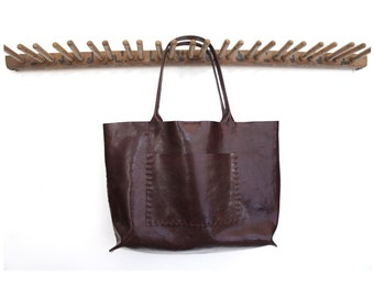 Belleville Tote - Available in two sizes - Italian Leather - Bordeaux