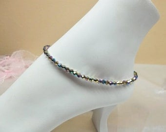 Black Anklet Rainbow Anklet Crystal Ankle Bracelet Black Rainbow Crystal Anklet 925 Sterling Silver Anklet Ankle Jewelry Buy3+Get1 Free