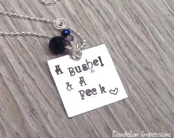 A Bushel & A Peck Handstamped Sterling Silver Square Pendant Necklace, I Love You,Gift For Mom Grandma, Dandelion Impressions