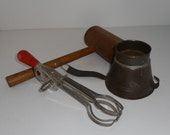Kitchen Utensils Vintage Kitchen Jar Strainer Beater Mallet Kitchen Primitives