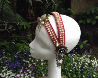 Scarletta Pearl Headdress - Tribal Fusion Bellydance Boho Gypsy Wedding Art Deco Burning Man