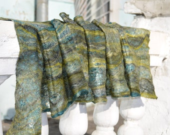 SALE 10% Wool Scarf, Cobweb felted scarf, felted scarf, Cowl Scarf , gift for him her, green emerald gray, Ready To Ship