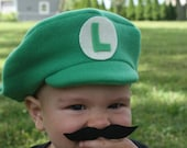 Super Mario Bros Inspired-INFANT or TODDLER Mario and Luigi Hats, Mustaches and Buttons-COMBO-Halloween, Photo Shoot