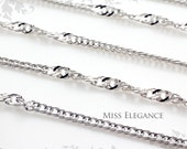 1M / 3ft, High Polished Rhodium Plated Chain Excellent Quality Unique Jewelry Findings // 1mm // CH009-BR