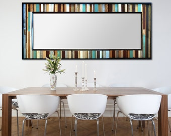 "Reclaimed Wood Leaner Mirror - Floor Mirror - ""Reclaimed Reflection""- 78x32"" - Modern Wood Wall Art - Abstract Wood Art - Reclaimed Mirror"