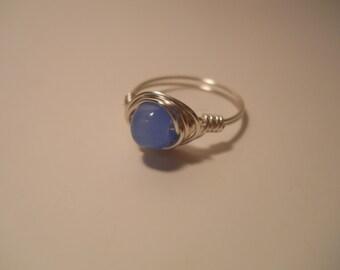 Medium Blue Chalcedony Wire Wrapped Ring, silver plated wire wrapped ring, silver ring, chalcedony ring, chalcedony, semi precious stone