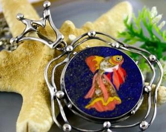 Mosaic Pendant Goldfish Statement Necklace Sterling Silver Jewelry