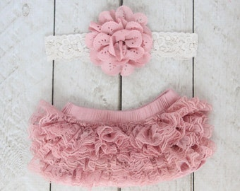 Baby Girl Ruffle Bottom Lace Bloomer & Headband Set in Mauve - Newborn Photo Set - Infant Bloomers - Diaper Cover - by Couture Flower