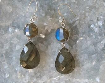 Labradorite-Double Drop- Statement Earrings- with Zircon Studded Ear Wires-Sterling Silver