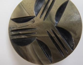 Vintage Large Carved Celluloid Button Metal Shank, #10