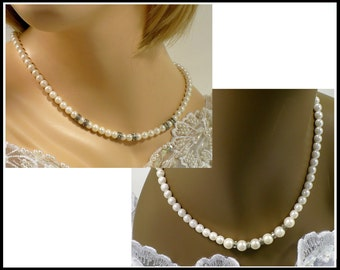 Set of 2 White Pearl & Clear Rhinestone Necklaces, 2 Designs, Bridal Necklace, White Pearl Choker, Rhinestone Necklace, Hostess Gift for Her