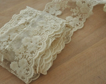Cotton Embroidery Lace Trim in Ecru for Wedding Invitation , Bridals, Gowns, Drapery