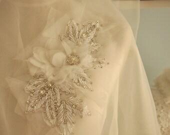 Wedding Sash Rhinestone Bridal Applique with Chiffon Flowers Lace Trims Crystals