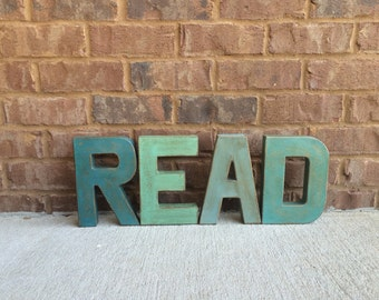 "8"" Painted Letters READ.  Teacher Gift. Christmas Gift. Home Decor. Vintage Style Letters"