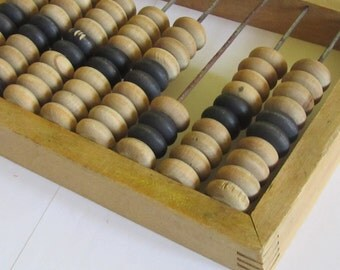 On Sale - Small Vintage   all wood Abacus, 1960s, school abacus,   Home decor, wooden abacus