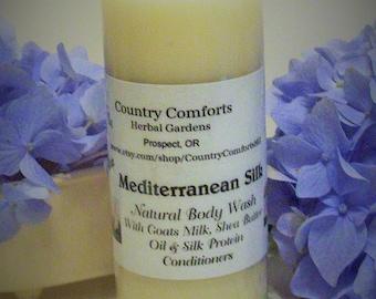 Mediterranean Silk Natural Body Wash -  Goats Milk, Shea Butter Oil, Silk Protein Conditioners - 4 oz bottle