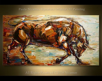 "Painting Bull Animal 48"" -  Contemporary Modern Art Oil on Canvas Huge Clean Modern Look Expressive Impressionist, Paula Nizamas"