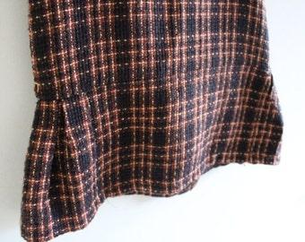 "Vintage Wool plaid skirt- retro skirt - Pencil Skirt - Wiggle Skirt - Waist 30"" -vintage Suit skirt"