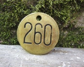 Number 260 Tag Brass Metal vtg Aged Patina Vintage Cattle Tag #260  Industrial Tag Address House Apartment Number Large 2 Inch  Keychain Tag