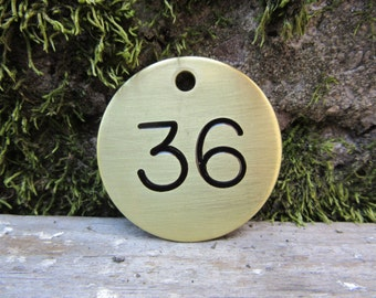Number 36 Tag Brass Metal #36 Industrial Tag Round Vintage Styled Keychain Token Address House Apartment Number Jewelry Supply 1 1/2 Inch