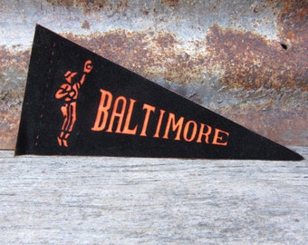 Vintage Baseball Pennant BALTIMORE Orioles  Orange & Black 8 1/2 Inch Mini Flag 1970s Collectible Vintage Sports Decor Gameroom Man Cave