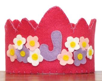 Felt Birthday Crown Girl, Dark Pink -Flowers- Customized Letter